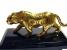 Тигр - статуэтка из бронзы на подставке,  обсидиан